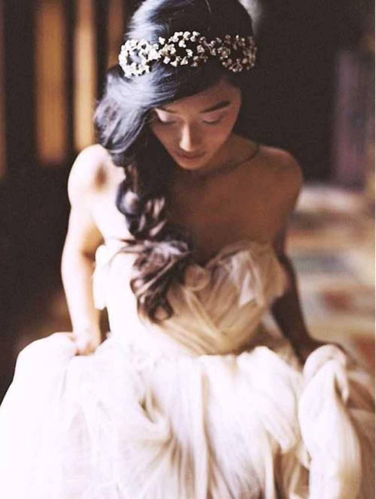 16. Vintage-Inspirierte Braut Lange Haare