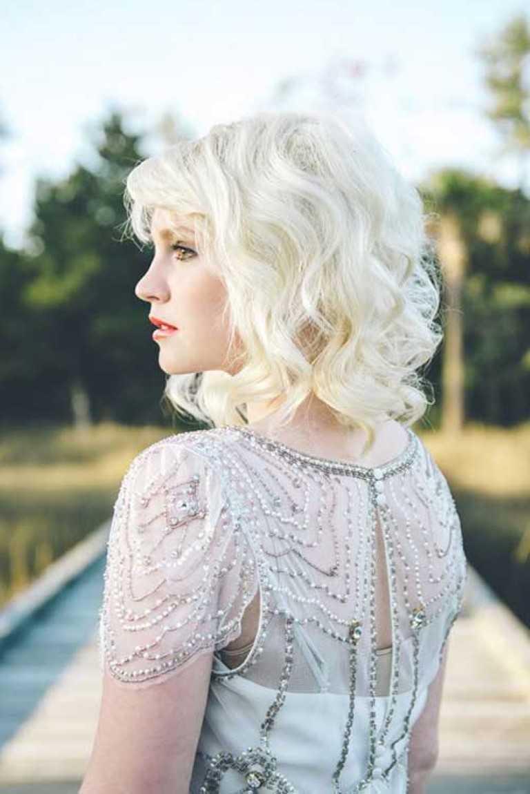 30 Hochzeit Frisuren für Kurze Haare-1-Kurze Platin Blonde Curly Hochzeit Haar