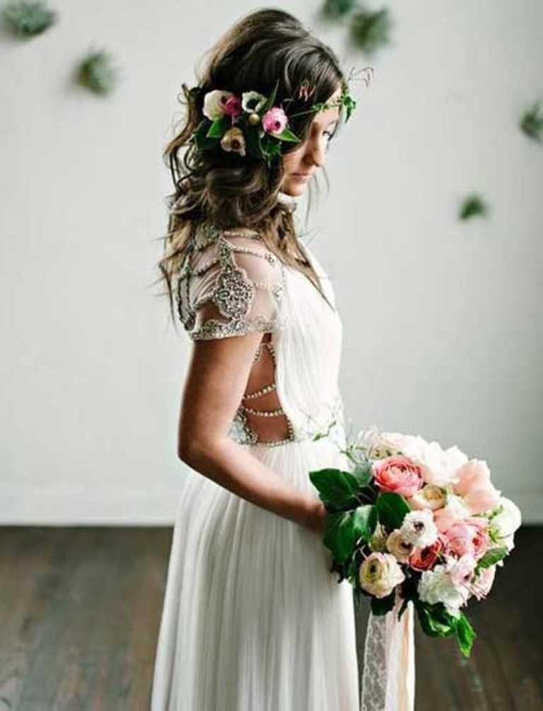 19. Boho Hochzeit Haar mit Blumen