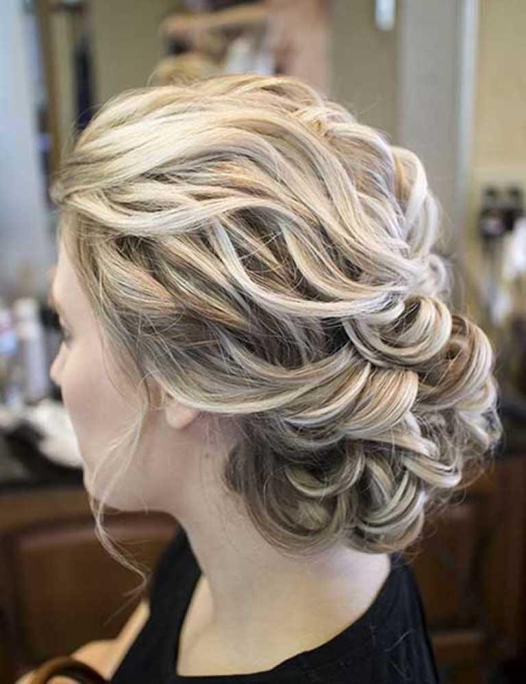 2. Wavy Hochzeit Messy Hochsteckfrisur Haar