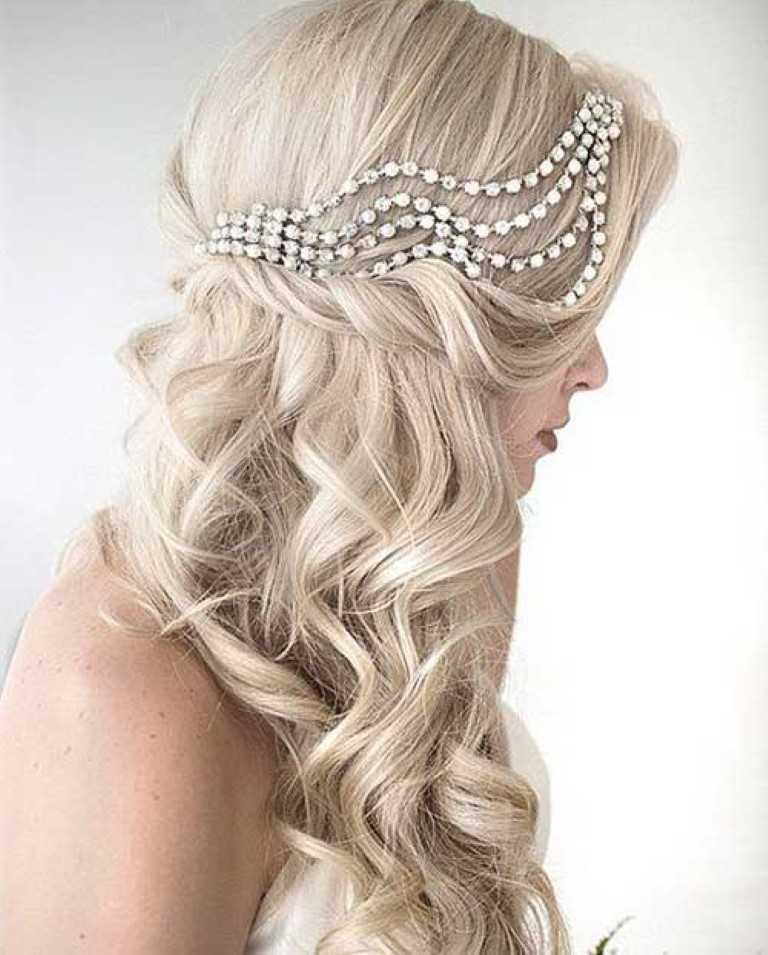 35. Seite Curly-Down-Haar Accessoire für Hochzeit