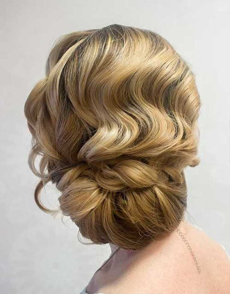 42. Finger Wellen mit einer Lockeren Hochsteckfrisur für die Hochzeit Haar