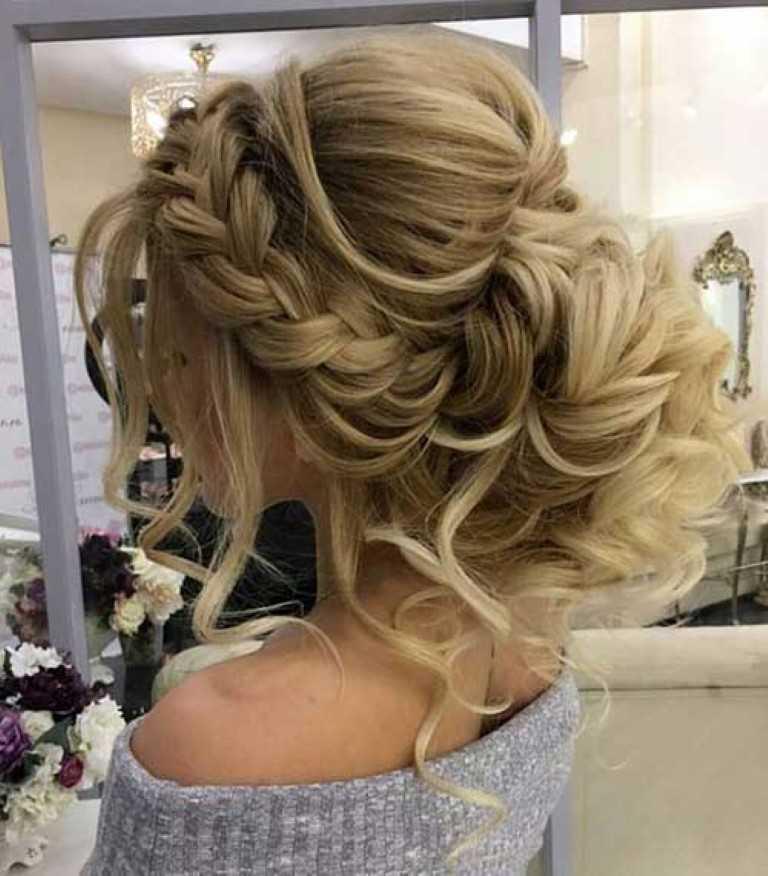 Geflochtene Bun Frisur für Hochzeiten Lange Haare