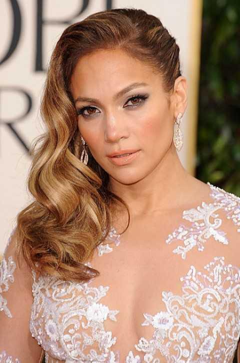 Jennifer Lopez Welligen Seite Gescheitelt Frisur