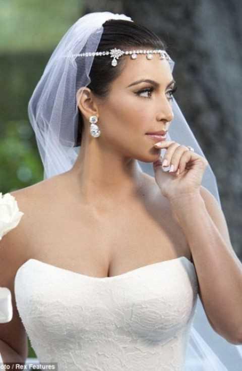 Kim Kardashian Hochzeit Niedrigen Hochsteckfrisur