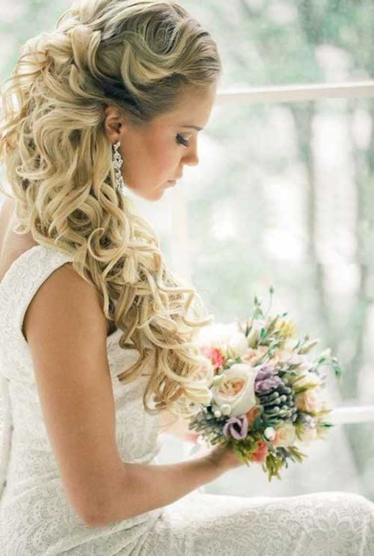 15. Rustikale Hälfte Bis Halb Nach Unten Welligen Niedlichen Hochzeit Frisur